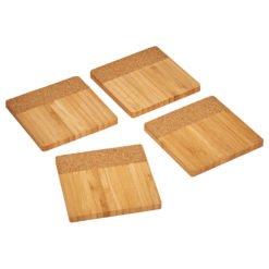 Bamboo and Cork Coaster Four Piece Set-1