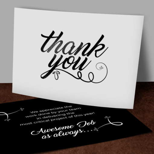 Foil Postcards | High-gloss spot UV And Black Foil Thank you | PrintMagic