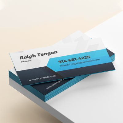 Ultra Thick Painted Edge Business Cards | Ultra Thick Uncoated Paper With Blue Edge Realtor Business Cards | PrintMagic