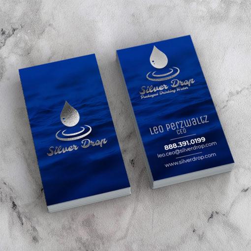 Raised Foil Business Cards | Business Card Raised Foil Silver Vertical Service Provider Bottled Water Supplier | PrintMagic