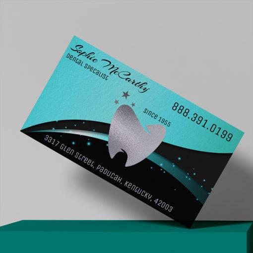 Foil Business Cards | Business Cards Silver Foil Horizontal Rectangle Dental Healthcare | PrintMagic