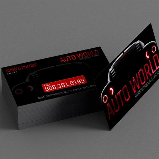 Foil Business Cards | Foil Business Cards Red Foil Horizontal Rectangle Auto Industry | PrintMagic