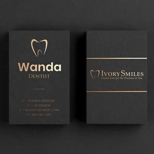 foil business cards | Foil Business Cards printing | Specialized Business Cards With Foil On Front Standard Uncoated And Gold Finish | Print Magic