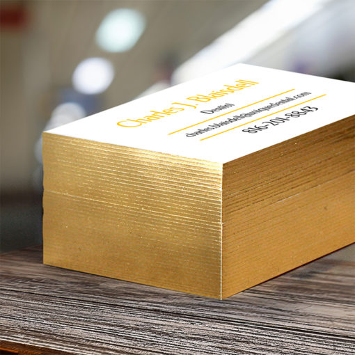 Ultra Thick Painted Edge Business Cards   Metallic Gold Ultra Thick Painted Edge Business Cards   PrintMagic