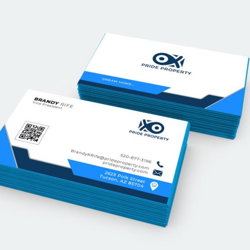 Painted Edge Business Cards, Popular Business Cards, Metallic Blue Edge Business Cards