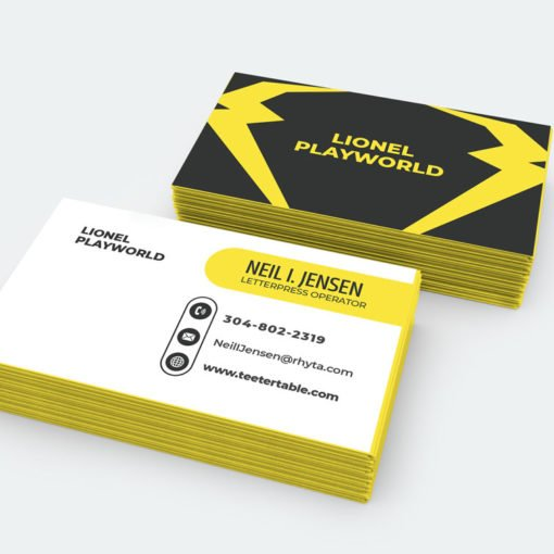 Gilded edge business cards, Premium Business Cards, Metallic Yellow Edge Business Cards