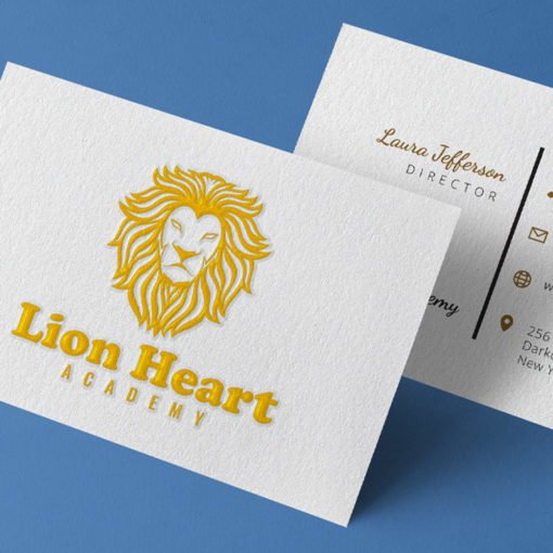 Lion heart Academy Raised Spot UV Business Cards | Professional Business Cards With Raised Spot UV Front And Black Premium Gloss | Print Magic