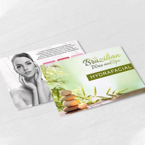 Raised Spot UV Postcards | Horizontal Rectangle Premium Gloss (16pt C2S) paper stock Raised Spot UV on Both Sides with Velvet Soft Touch Lamination Raised Spot UV Wax and Spa Hydrafacial Postcards | PrintMagic