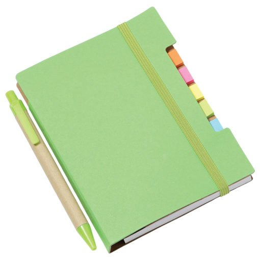 "4""x 6"" Recycled Sticky Notebook with Pen-2"