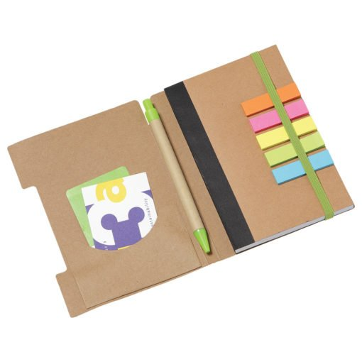 """4""""x 6"""" Recycled Sticky Notebook with Pen-3"""