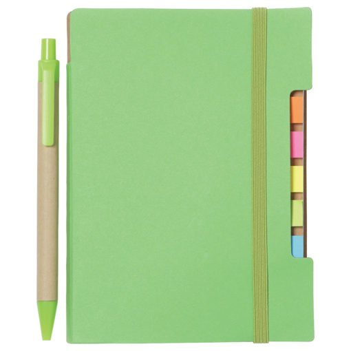 "4""x 6"" Recycled Sticky Notebook with Pen-4"