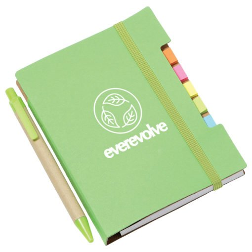 "4""x 6"" Recycled Sticky Notebook with Pen-9"