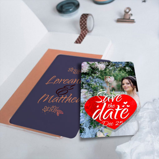 Silk Postcards | Vertical Rectangle Rounded Corner Premium Gloss (16pt C2S) paper stock printed both side with silk Lamination Save the Date Postcards | PrintMagic