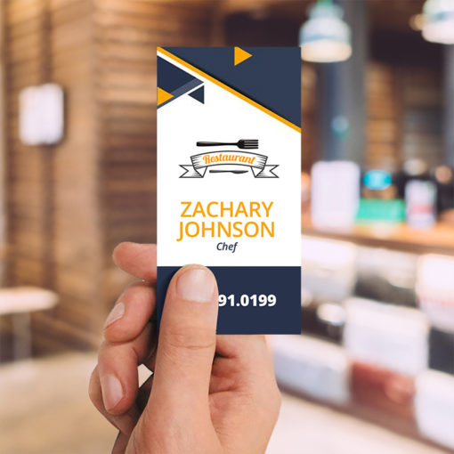 Slim Business Cards | Slim Business Card Vertical Restaurants Hotel Industry with Thick, premium card stock in glossy and uncoated varieties | PrintMagic