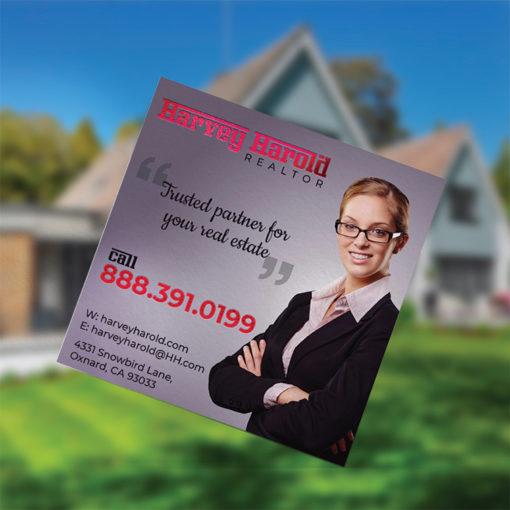 Foil Business Cards | Square Business Card Rose Gold Foil Real Estate | PrintMagic
