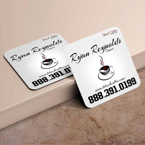 Foil Business Cards | Square Rounded Corners Business Card Black Foil Restaurant Cafe | PrintMagic