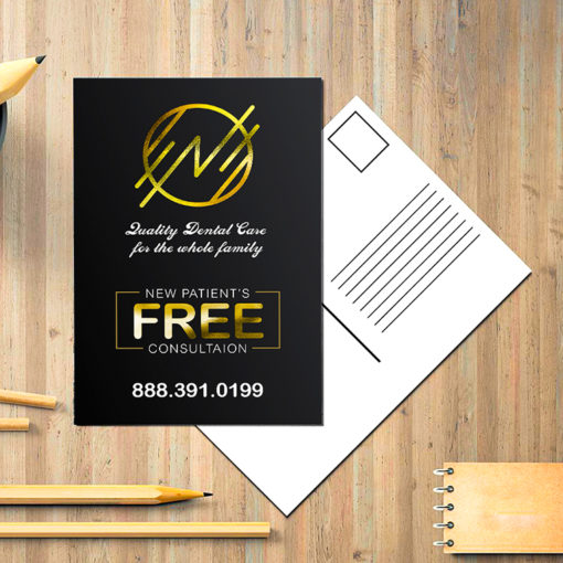 Raised Foil Postcards | Vertical Rectangle Gold Raised Foil On Front side with Premium Gloss (16pt C2S) paper stock and Velvet Soft Touch Lamination Medical Dental Doctor Foil Postcards | PrintMagic