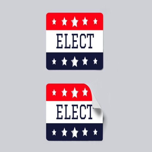 Campaign & Political Stickers   Square shape Printed Front side with 70lb Gloss Sticker Paper Stock and UV Coating on Front side Stickers for print Democrat and Republican Political Stickers   PrintMagic