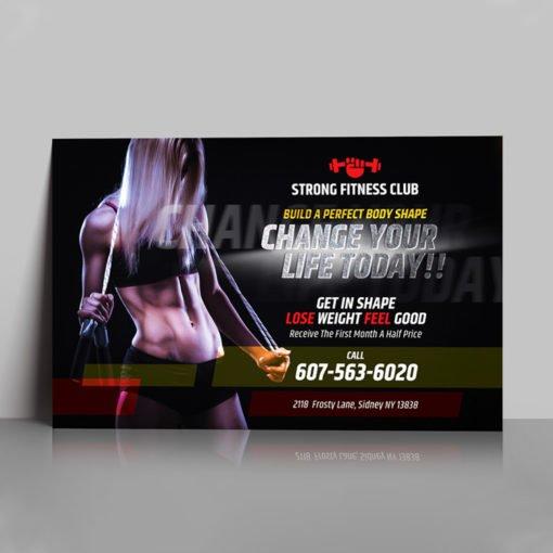 Foil Flyers Printing, Premium Fitness Club Flyers, Blue Foil Flyers