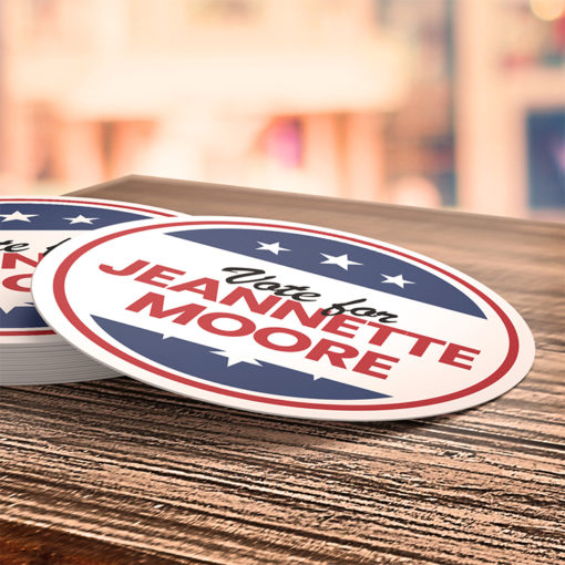 Campaign & Political Stickers   Oval shape Printed Front side with 70lb Gloss Sticker Paper Stock and UV Coating on Front side Stickers for support your favorite political party and candidate with help of Political Stickers   PrintMagic