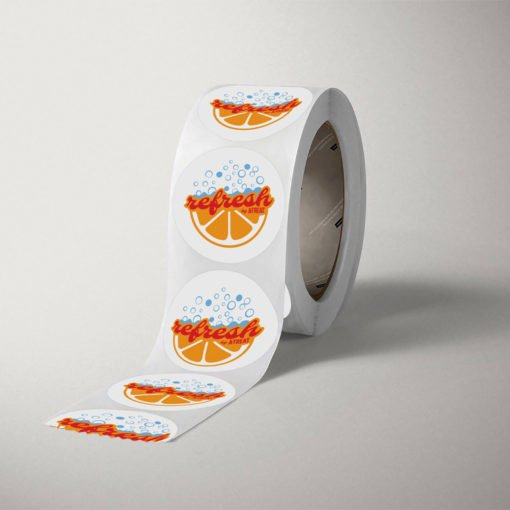 custom sticker rolls, Popular Foods Roll, Silk Laminated Stickers