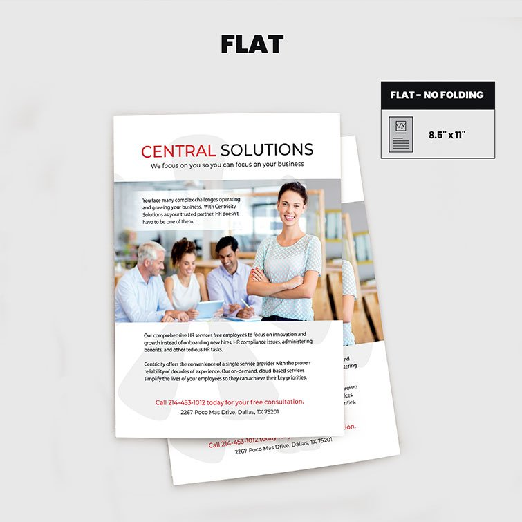 Print Products | Fold Option: One-Page-Flat for Brochures