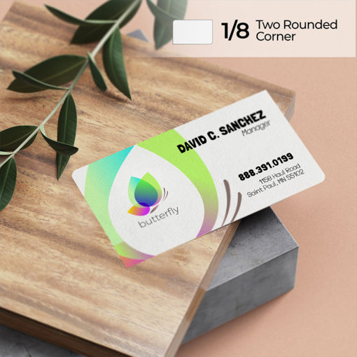 Two Rounded Corner Business Cards | 3 size options in square or rectangle shapeand High-shine Standard and Premium Glossy paper stock | PrintMagic