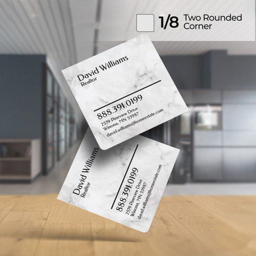 Two Rounded Corner Business Cards | Add UV or Matte coating, with UV available on one or both sides and 3 size options to choose from, available in a square or rectangle shape | PrintMagic