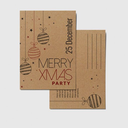 Custom Brown Kraft Postcards, Happy Holidays Brown Kraft Postcards, Thick Brown Kraft Postcards