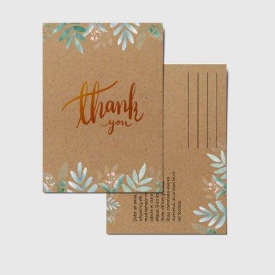 Brown Kraft Postcards printing | Thank You Brown Kraft Postcards with Thick Brown Kraft Uncoated and printed front only | Print Magic