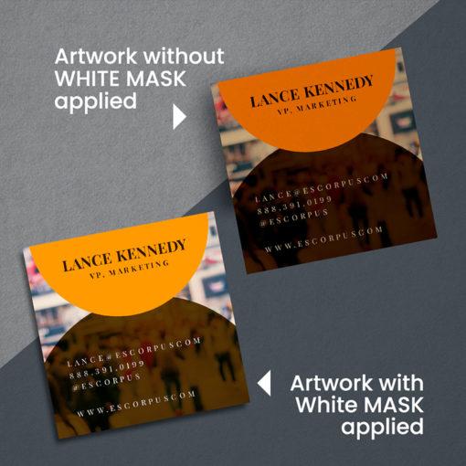 Brown Kraft Business Cards | Business Cards Brown Kraft Square Real Estate White Mask Application | PrintMagic