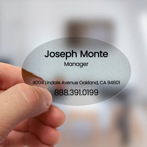 Plastic Business Cards | Business Card Plastic Clear Cards Horizontal Oval Real Estate Sales Agent | PrintMagic