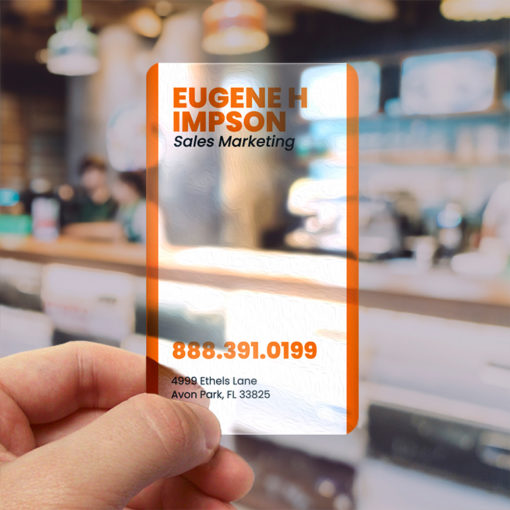 Plastic Business Cards | Business Card Plastic Clear Cards Vertical Rectangle Rounded Corners Restaurant Agent | PrintMagic