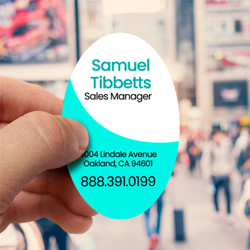 Die Cut Business Cards | Vertical Oval Premium Gloss (16pt C2S) printed front side Real Estate Business Card | PrintMagic