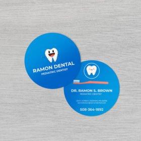 half circle business cards | Circle Business Cards printing | standard gloss and UV coating both sides, print side Front & Back | Print Magic