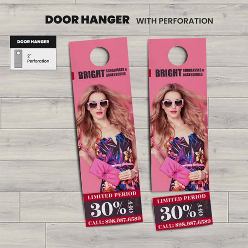 Custom Door Hangers | Perforation Fashion Door Hangers with Standard Uncoated and Starburst Die Cut and print side Front & Back | Print Magic