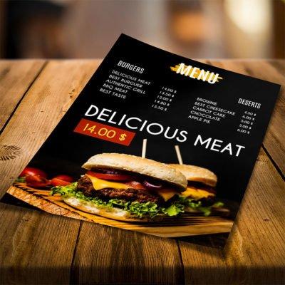 Eco Friendly Natural Menus | Restaurant Premium Natura Menu with Standard Natural Uncoated and FLAT - No Folding & Scoring and printed Full color front and back | Print Magic