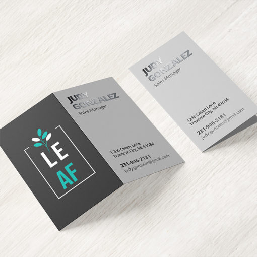 Folded Business Cards | Folded SPOT UV on Front Only Vertical Business Cards Restaurant with UV, Matte, Aqueous, and Spot UV coating options | PrintMagic