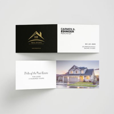 Folded Business Cards| Folded Business Cards printing | Real Estate | Premium Gloss and UV Coating Front & Back Sides and Rounded Corner 1/4"
