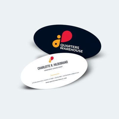 Oval Business Cards | Oval businees Cards printing | Apartment leasing agent | Premium Gloss and Matte Coating and print side Front & Back | Print Magic