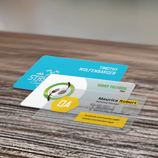 Print colored Plastic Business Cards - White, Frosted, Opaque - Black, Orange, Green or any color background.