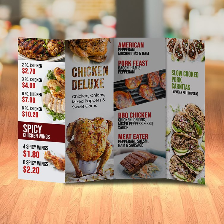 Custom Pocket Menus | Pocket Menu Double Parallel Fold for Restaurant with Standard Gloss Text-100lb and Aqueous Coating and printed Full color front and back | Print Magic