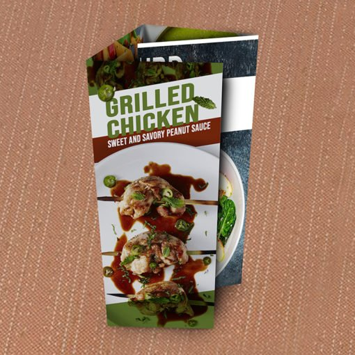 Custom Pocket Menus | Pocket Menu Roll Fold |with Standard Gloss Text-80lb and UV Coating Both Sides and printed Full color front only