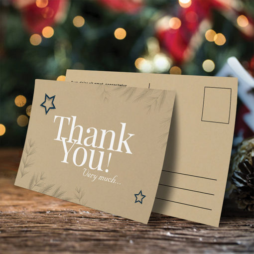 Brown Kraft Postcards | Thick Brown Kraft Uncoated (Uncoated - 18pt) paper stock printed front side Thank You Postcards | PrintMagic
