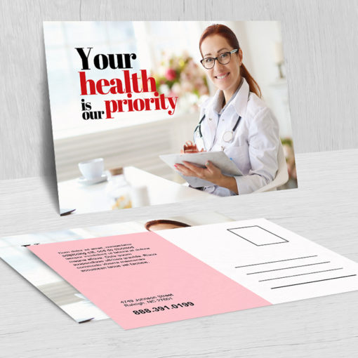Velvet Soft Touch Postcards | Horizontal Rectangle Premium Gloss (16pt C2S) paper stock printed on Front Sides with Velvet Soft Touch Lamination Medical Doctor Healthcare Postcards | PrintMagic