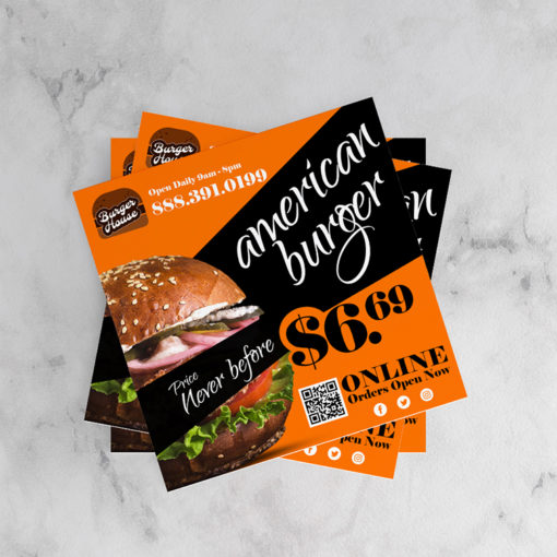 Velvet Soft Touch Postcards | Square Premium Gloss (16pt C2S) paper stock printed on Front Sides with Velvet Soft Touch Lamination Food Restaurant Offers Postcards | PrintMagic