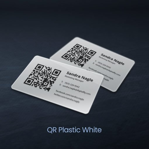 Plastic Business Cards | QR Plastic Business Cards with White plastic option And Creative and attractive looking Business cards | PrintMagic