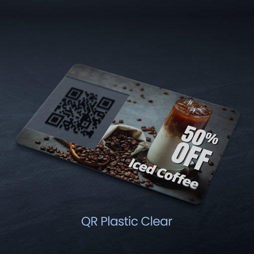 Plastic Postcards | Horizontal Rectangle Round Corner Clear Plastic 20pt. Paper stock Printed front only QR Coffee Shop Plastic Postcards | PrintMagic