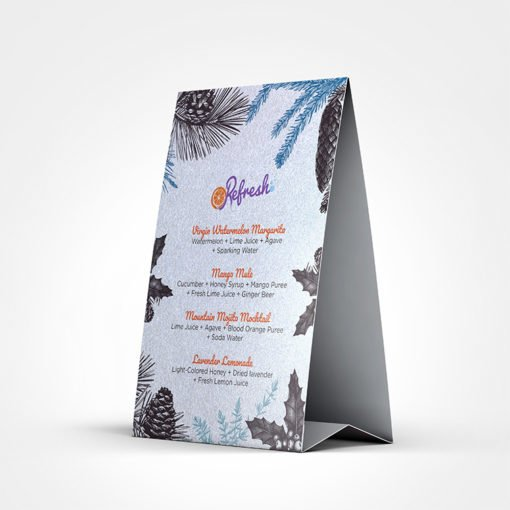 Pearl Metallic Table Tents printing | Restaurant Holiday Menu Pearl Metallic Table Tents with Standard Pearl Metallic and Color Front Only | Print Magic
