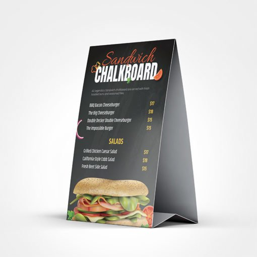 Premium Natural Table Tents printing | Restaurant Menu Premium Natural Table Tents with Standard Natural Uncoated and Color Front Only | Print Magic